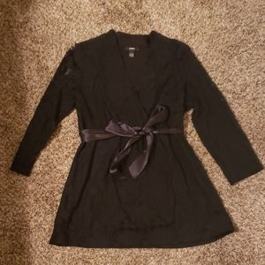 NEW Black Lace VNeck Blouse with a Satin Sash